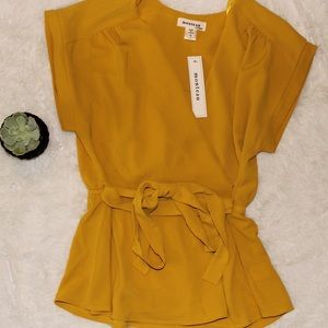 Golden Mustard Yellow Belted Blouse